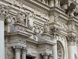 detail on facade of basilica santa croce in lecce italy