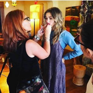 Sadie Robertson in Makeup on set