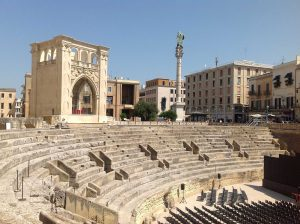Roman Amphitheater and Sedile in Lecce Italy