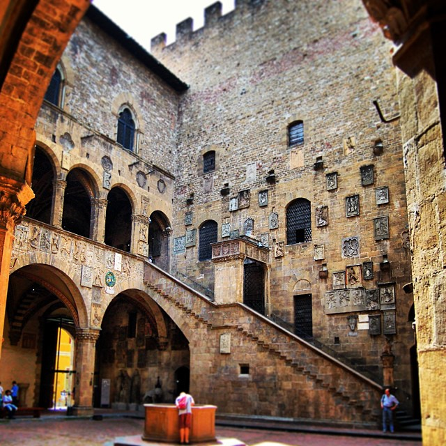 staircase and well in the courtyard of the Bargello in Florence