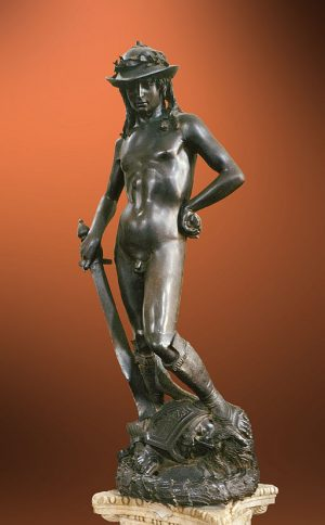 Donatello's bronze David at the bargello in Florence