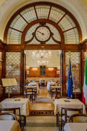 Swiss clock inside Caffe Gilli in Florence