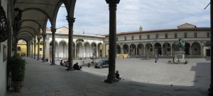 Piazza SS Annunciata Florence view of Foundlings Hospital
