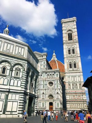 side view of Florence Duomo, Campanile and baptistery