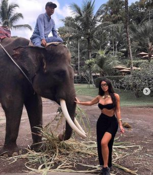 Kim Kardashian with elephant